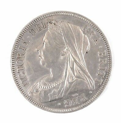 1893 Great Britain Queen Victoria Widow Head British Half Crown Silver Coin