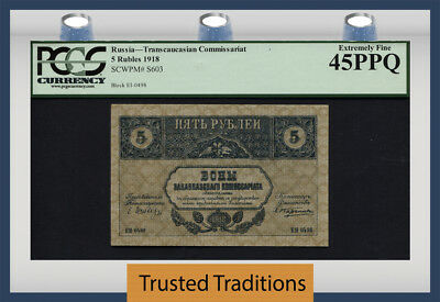 "Tt Pk S603 1918 Russia 5 Rubles ""trancaucasian"" Pcgs 45 Ppq Extremely Fine!"