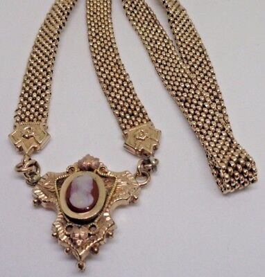 """Antique Victorian Mesh 19"""" Book Chain Gold Filled Necklace Cameo Hardstone Fob"""