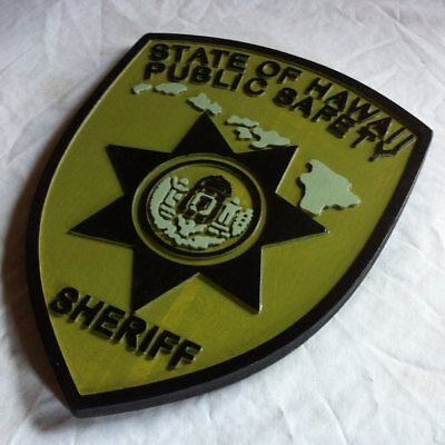 Police Hawaii Sheriff  Subdued 3D routed wood  patch plaque sign