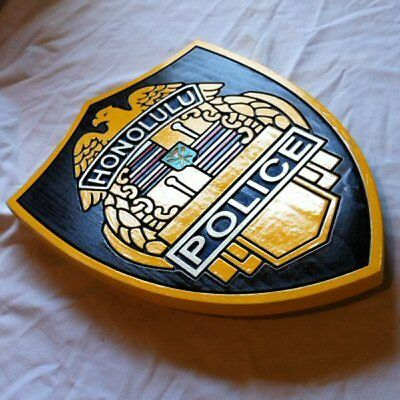 Police Honolulu 3D routed carved wood award patch plaque sign