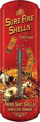 Tin Thermometer,Shot shell Sure fire,Rivers edge, Vintage Art,Advertising,1359