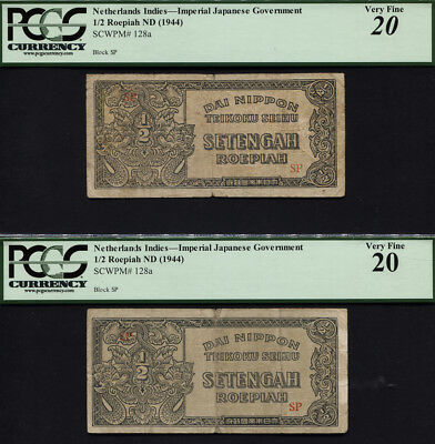 TT PK 128a 1944 NETHERLANDS INDIES 1/2 ROEPIAH PCGS 20 VERY FINE SET OF 2 NOTES!