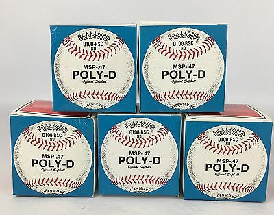 Lot of 5 White DIAMOND Slow Pitch Softballs D100-RSC MSP-47 Poly-D ~NEW IN BOX~