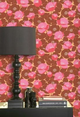 Graham & Brown Retro Flower Red Pink Orange Modern Designer Floral Wallpaper Diy