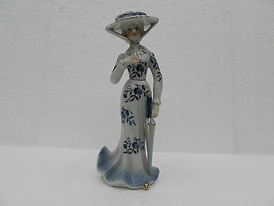KPM  Porcelain Victorian Lady ~ Blue & White ~ Gold Accents ~ Numbered