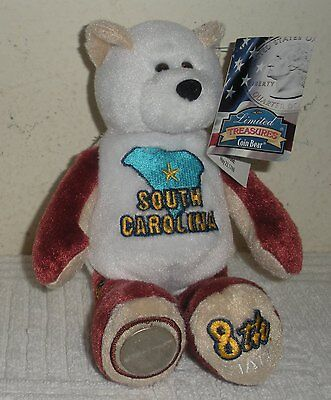 "New w/ Tags Limited Treasures 8"" Plush Beanbag STATE COIN BEAR, SOUTH CAROLINA"