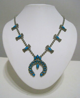 FABULOUS Vintage SW Native OLD PAWN STYLE Faux Turquoise SQUASH BLOSSOM NECKLACE