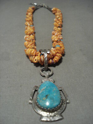 Museum Quality Vintage Santo Domingo/ Navajo Old Turquoise Shell Silver Necklace