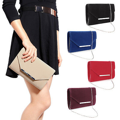 Ladies Suede Party Prom Bridal Evening Large Envelope Clutch Bag Shoulder Bag