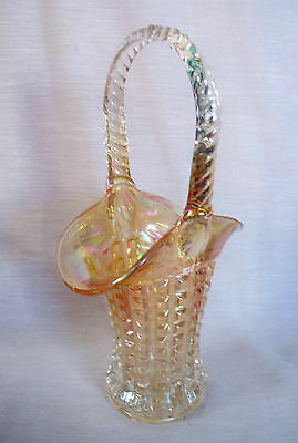 Imperial Carnival Glass Tall Basket Marigold Waffle Block