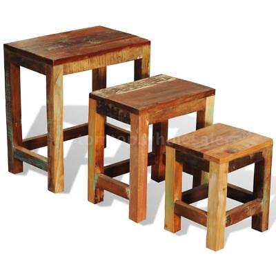Reclaimed Wood Set of 3 Nesting Tables Vintage Antique-style Z0E9