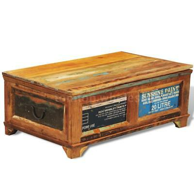 Reclaimed Wood Storage Box Coffee Table Vintage Antique-style Q5E6