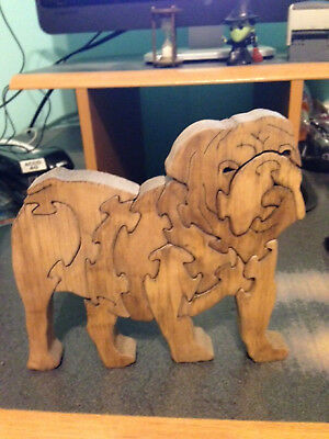 Wooden Bulldog Scroll Puzzle - Handmade - 11 Pieces - Stained