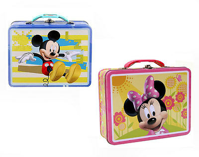 2 Disney MICKEY MOUSE MINNIE LunchBoxes Keepsake Storage Case Gift Bag Lunch Box