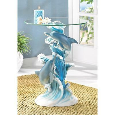 "Blue DOLPHIN ocean beach 24"" statue glass top bedside end table night stand L"
