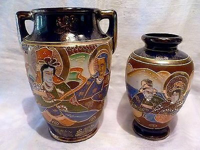 PAIR Antique JAPANESE SATSUMA Cobalt Blue MORIAGE PORCELAIN Display VASES Japan