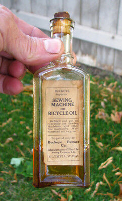 RARE Original Label SEWING MACHINE OIL / OLYMPIA, WA Buckeye Extract Co bottle