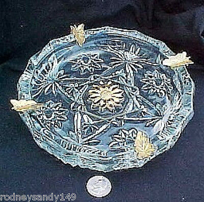 Large Depression Pressed Glass Ashtray wtih Gold Colored Leaves
