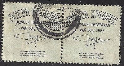 Pair 2 Netherland Indies revenue stamps 1935 Tea Exports 50g tax duty indonesia