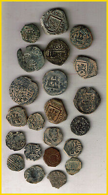 LOT 22  SPANISH COLONIAL PIRATE TREASURE COINS(c)CENTURIES XVI-XVII-XVIII-