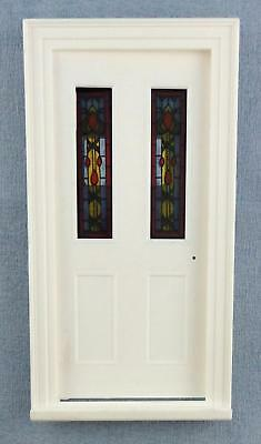 Dolls House White Plastic Victorian Door with Stained Glass Panels 1:12 Scale