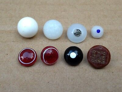 Mixed Lot Of 8 Antique Swirl Back Wire Shank Glass Sewing Buttons 13-8 Mm