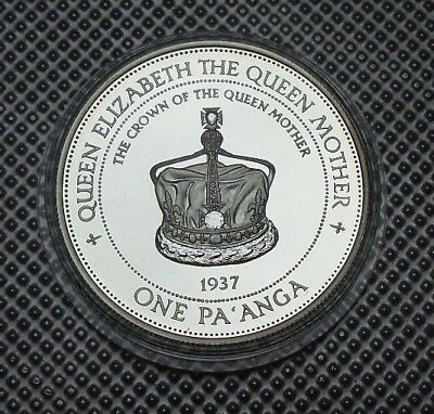 1997 Tonga Silver Proof One Pa'anga Coin The Queen Mother Collection & Coa