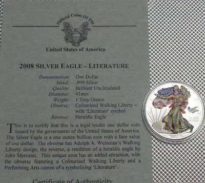 2008 Usa  $1 Coin 999 Silver With  Colour Overlay 1 Oz Walking Liberty {4}