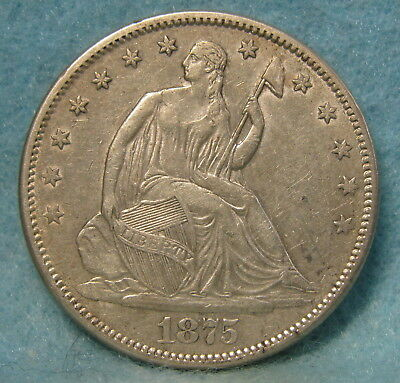 1875-S Seated Liberty Silver Half Dollar XF-Almost Uncirculated * US Coin *