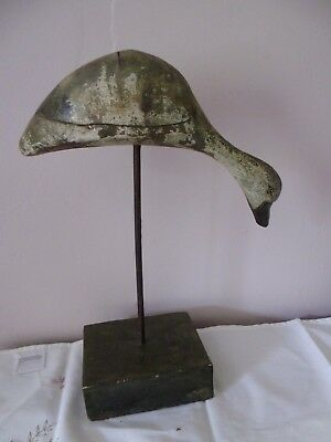 """Antique Folk art carved wooden duck on stand , distress paint , 12.5"""" , damage"""