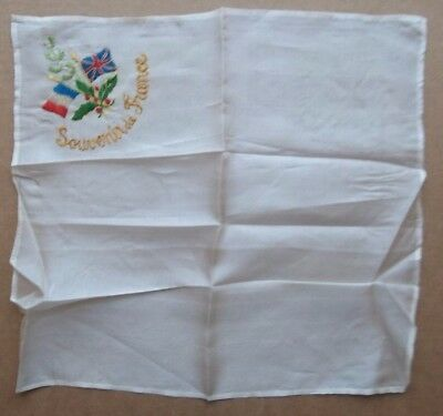 Silk Handkerchief Or Napkin Embroidery France English Flag Military