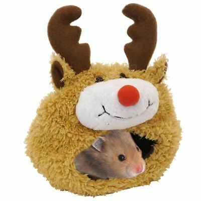 Rosewood Small Animal Soft Plush Christmas Reindeer Hamster Bed Pouch 19611