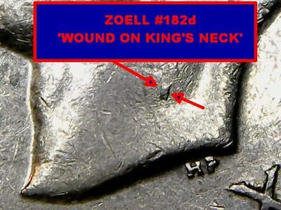 1951c 5c, ZOELL #B182d, 'WOUND ON KING'S NECK', Error / Variety Coin...