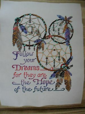 Large Completed Cross Stitch Dream Catchers. 14 hpi . 14 x 18 ins. Used