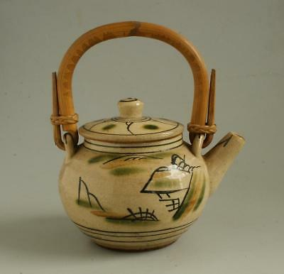 Japanese Mashiko Pottery Teapot Decorated by Minagawa. 1950s.