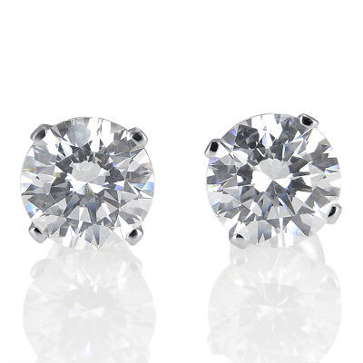 2 Carat D/VVS1 Stud Earrings Round Cut 18K White Gold Women's Jewelry