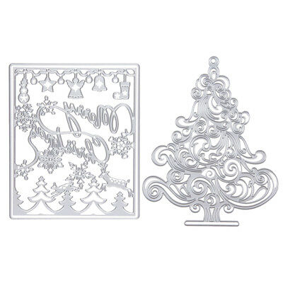 2pcs Cutting Die Stencil Scrapbook Album Paper Embossing Card-Christmas