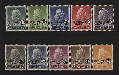 Christmas Island 1958 QEII Values Set Ovprt CHRISTMAS ISLAND Mounted Mint