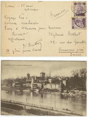 1920s Italy overprint issues on pc cover to Paris France