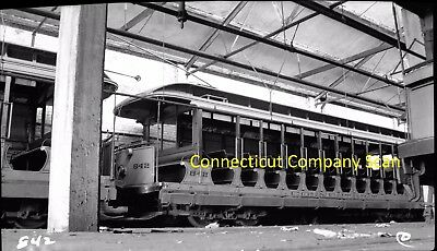 Connecticut Company Original B&w Trolley Negative Car 842 New Haven, Ct In 1938