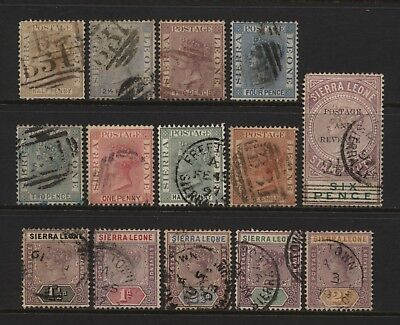 Sierra Leone Collection 14 QV Stamps (Unsorted wmks / Perfs) Used