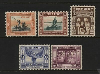 Sierra Leone 1933 Collection 5 Abolition Multi Design Stamps Mounted Mint