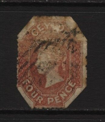 Ceylon Early QV 4d Rose Stamp Used