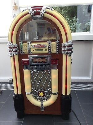 vintage juke box mit radio beleuchtet usa musikbox 50r. Black Bedroom Furniture Sets. Home Design Ideas