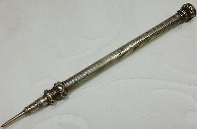 Antique 1838-1860 S Mordan Maker Silver Mechanical Propelling Pencil + Jewel