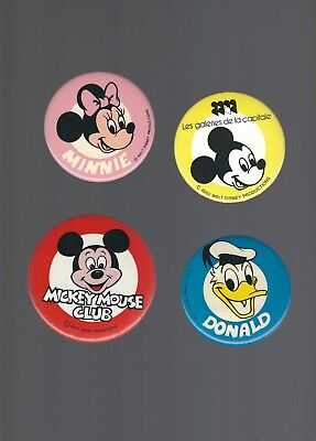 Old Walt Disney  **Mickey Mouse / Minnie / Donald**  Buttons / Pins (Lot of 4)