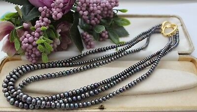 Beautiful South Sea Cultured Black Pearl Necklace With Gold Tone Clasp