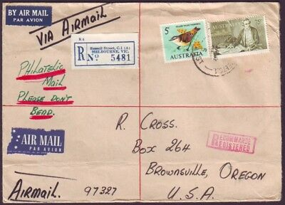 1967 REGISTERED AIRMAIL COVER TO UNITED STATES WITH 75c COOK (RU3316L)