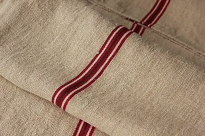 Antique GRAIN SACK feedsack European red white and GREEN stripe Christmas bag